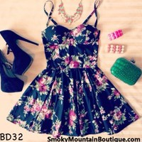 Savannah Floral Black Bustier Dress with Adjustable Straps - Size XS/S/M - Smoky Mountain Boutique