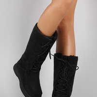 Bamboo Suede Lace Up Flat Snow Boots