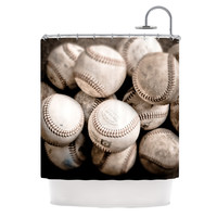 "Debbra Obertanec ""On the Mound"" Baseball Shower Curtain"