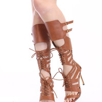 Brown Lace Up Cut Out Gladiator Heels Faux Leather