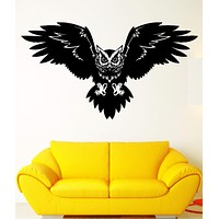 Wall Decal Bird Owl Predator Claws Wings Flying Wisdom Vinyl Decal Unique Gift (ed352)