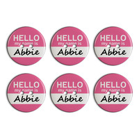 Abbie Hello My Name Is Plastic Resin Button Set of 6