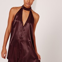 Missguided - Sarah Ashcroft Silky Choker Neck Swing Dress Burgundy
