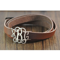 Wholesale Custom monogram bracelet, personalized leather bracelet, alloy charm, sports style, man's jewerly