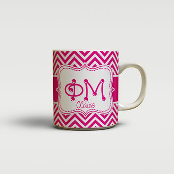 PHI MU - THIN PINK CHEVRON - SORORITY COFFEE MUG