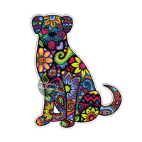 Dog Car Decal - Colorful Flowers Laptop Decal Bumper Sticker Hippie Boho Cute Car Decal Pet Animal Puppy Floral Wall Decal Girly Art Drawing