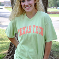 Classic Texas Tech Arch Coral Arch on Celadon Tee