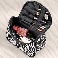 Women Lady Makeup Cosmetic Case Toiletry Bag Zebra Travel Handbag Organizer New SV005497 (Color: Black white) = 1945816900