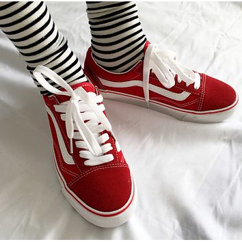 Vans Women Men Trending Fashion Casual Running Sports Canvas Skate Shoes Red G