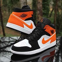 Air jordan 1 AJ1 fashion men and women color matching high-top sneakers Shoes