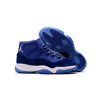 Air Jordan 11 Retro Aj11 Velvet Heiress New Fashion Women Men Sneaker Shoes Blue