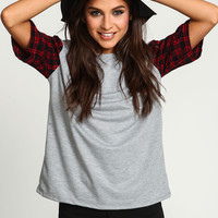 Flannel Sleeves Sweater Top