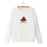 Women's Cartoon Watermelon Print Long Sleeves Sweat Shirt