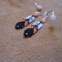 Native American Style loomed Eagle Feather earrings in Fire colors