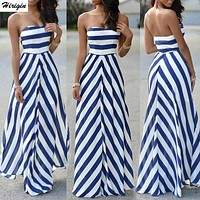 Striped Women Sexy Summer Maxi Long Dress Strapless Elegant Evening Party Beachwear Dress Holiday Casual Sundress