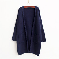 Solid V Neck Knit Cardigan Sweater with Pockets