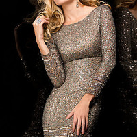 Long Sleeve Short Sequin Cocktail Dress by Scala