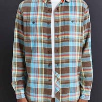 Stapleford Cade Washed Flannel Button-Down Shirt- Brown