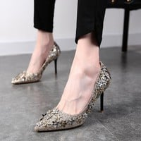 Crytal Low Cut Pointed Toe Stiletto High Heels Party Shoes