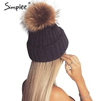 Fur Pom Pom Bobble Hats