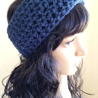 Crochet Ear Warmer- Denim Blue - Fits Adult/Teen/Women