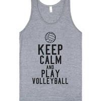 Keep Calm and Play Volleyball Tank-Unisex Athletic Grey Tank