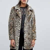 Parisian Faux Leopard Fur Coat at asos.com