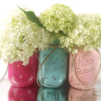 Colorful Home Decor, Rustic - Style, Hand Painted Mason Jars -- Light Pink, Light Blue and Dark Pink Painted Jars