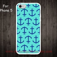 iPhone 5 Case, Nautical Anchor iphone 5 case, mint green and blue anchor iphone 5 case, white side case for iphone 5
