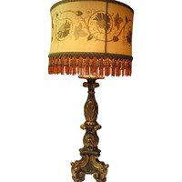 Pre-owned Mediterranean Lamp with Embroidered Silk Shade