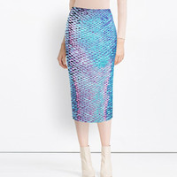 Purple And Blue Fish Scales Print Pencil Skirt