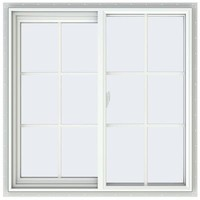 JELD-WEN 35.5 in. x 35.5 in. V-2500 Series Right-Hand Sliding Vinyl Window with Grids - White-THDJW138500069 - The Home Depot