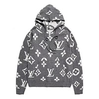 Louis Vuitton Print Hooded Pullover Tops Sweater Sweatshirts