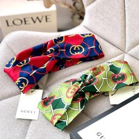 GUCCI Tide brand double G printing interlocking hair band cross elastic hair band