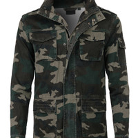 LE3NO Mens Military Anorak Twill Jacket (CLEARANCE)