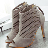 Grey High Heel Hollow Peep Toe Pumps