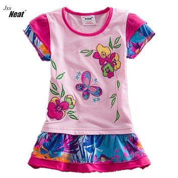 Baby girl summer dress NEAT round collar cotton butterfly print girl clothes cute girl short sleeve dress kids clothes S66303