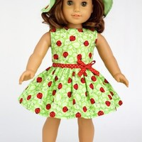 Ladybug -3 piece outfit - Summer Dress, Hat and Red Shoes - Clothing for 18 inch Dolls like American Girl (doll not included)