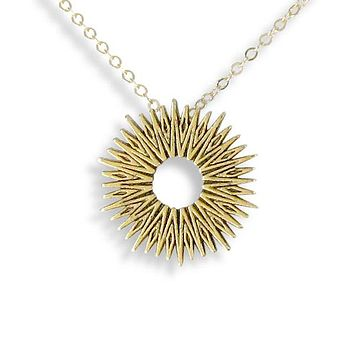 Gold Small Radiant Sun Necklace