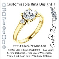 Cubic Zirconia Engagement Ring- The Jacqueline (Customizable Round Cut 3-stone with Thin Band and Dual Round Prong Accents)