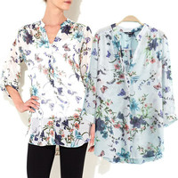 Floral And Butterfly Print V-neck Chiffon Long Sleeve Blouse