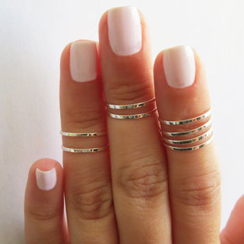Silver Ring - Stacking rings, Knuckle Ring, Thin silver shiny bands, Set of 8 stack midi rings, Silver jewelry, Silver accessories