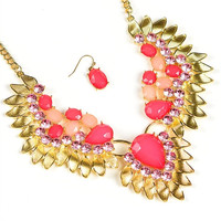 * GOLD PINK NECKLACE & EARRING SET