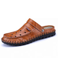 Men Hand Stitching Hole Breathable Leather Closed Toe Waterproof Sandals