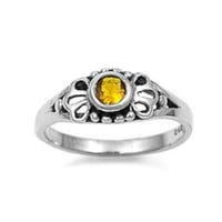 Sterling Silver Yellow Topaz CZ Ring Size 1-5
