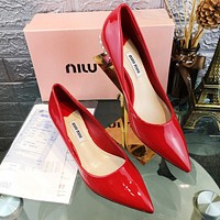 MIU MIU Women Fashionable Pointed Sandals Shoes High Heels Red