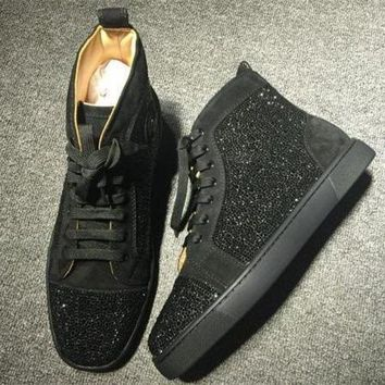 DCCK2 Cl Christian Louboutin Rhinestone Style #2107 Sneakers Fashion Shoes