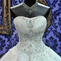 Stunning Custom Made Crystal Adorned Bridal Ball Gown Wedding Dress