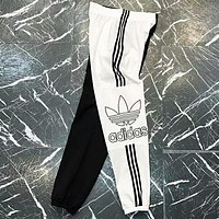 Adidas Fashion new stripe print black white splice women and men loose leisure pants trousers