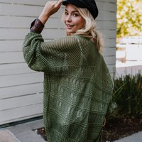 Brenden Knit Netted Cardigan - Olive